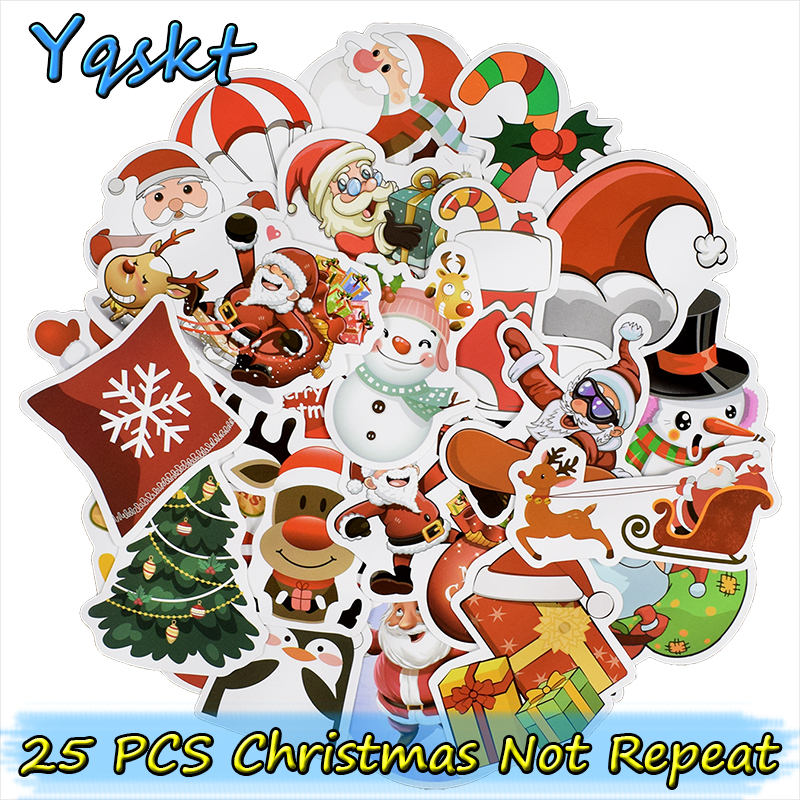 25 Pcs Christmas Stickers for Laptop Car Styling Guitar Luggage Fridge Vinyl Decal Home Decor DIY Graffiti Waterproof Stickers dsu bathroom wall stickers wash your hands love mom waterproof art vinyl decal