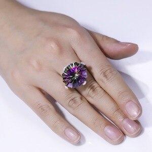 Image 5 - Gems Ballet Natuurlijke Regenboog Mystic Quartz Cocktail Ring 925 Sterling Zilver Onregelmatige Edelsteen Ringen Fijne Sieraden Voor Vrouwen