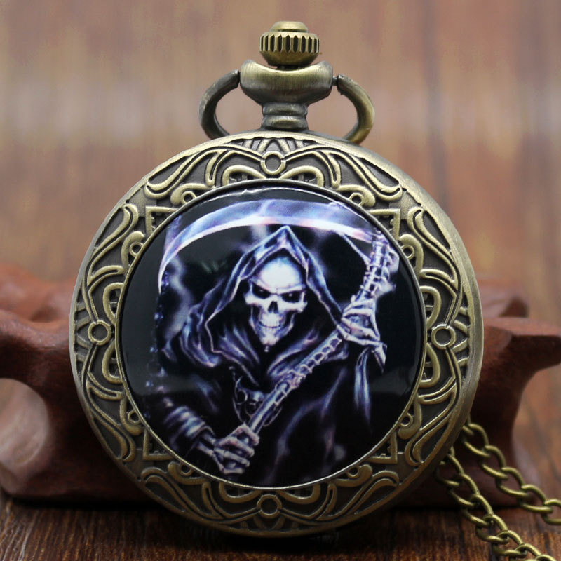 Vintage Bronze Grim Reaper Anime Cosplay Pocket Watch With Chain Necklace