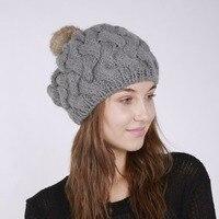רגיל בצבע במבוק ארוג אופנה כובע סרוג שיער כדור ארנב צמר חם כובעי מצנפת femme חמודה מזדמן נוחה