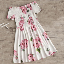 Off Shoulder Smocked Flower Flare Dress JKP343