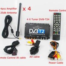 HD ТВ автомобиля DVB-T2 DVB-T мульти PLP цифровой ТВ приемник автомобильной D ТВ коробка с 4 Антенна тюнера