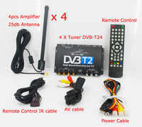HDTV Car DVB-T2 DVB-T MULTI PLP Digital TV Receiver automobile DTV box With 4 Tuner Antenna Russian Europe Thailand Singapore