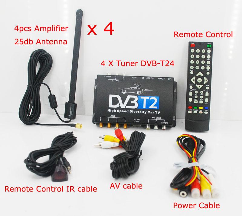 HDTV voiture DVB-T2 DVB-T MULTI PLP récepteur de télévision numérique automobile DTV boîte avec antenne 4 Tuner