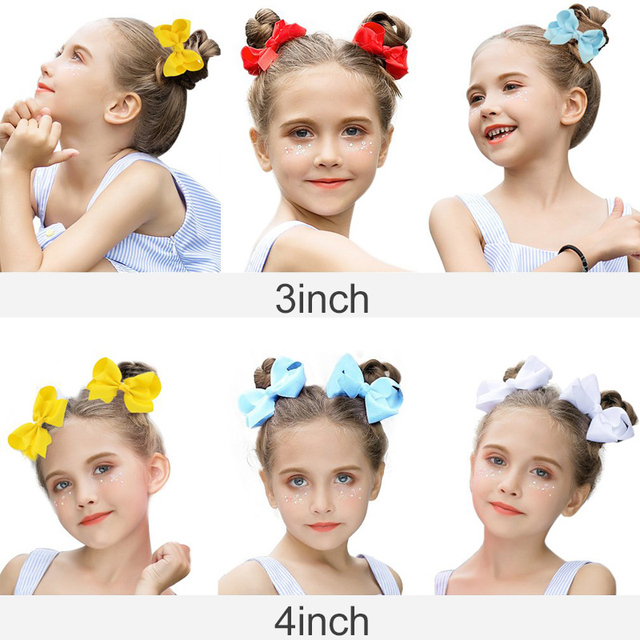 3/4/6/8inch Boutique Handmade Colorful Solid Ribbon Grosgrain Hair Bow With Clips For Kids Girls Hair Accessories 3