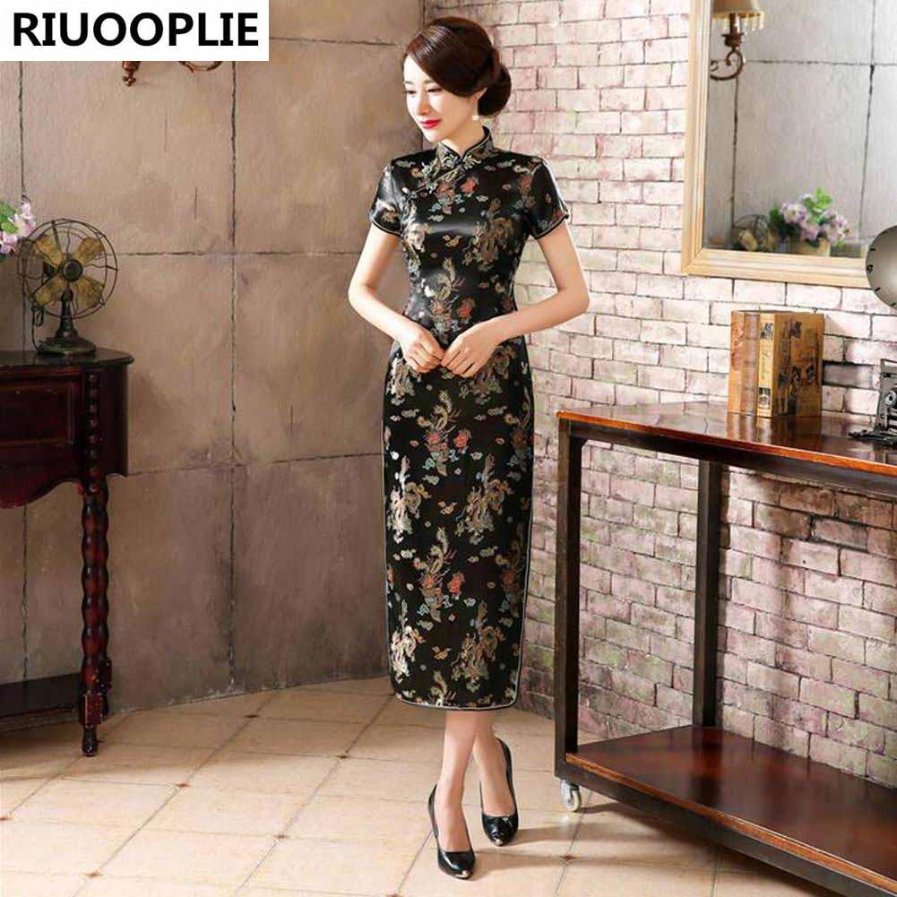 RIUOOPLIE Kinesisk stil kjole kvinner Long Cheongsam Elegant Slim - Nasjonale klær - Bilde 3