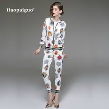 Two Piece Set Women Suits Winter Autumn 2018 Suit Print Long Sleeve Top and Slim Pants 2 Office Work XXL