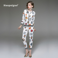 Two Piece Set Women Suits Winter Autumn 2018 Suit Set Print Long Sleeve Top and Slim Pants 2 Piece Set Office Work Suits Set XXL