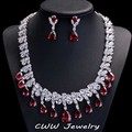 Nigerian Design White Gold Plated Water Drop Ruby Red CZ Diamond Bridal Wedding Earrings Necklace sets For Brides (T124)