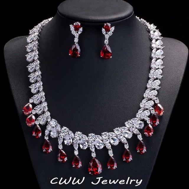 Nigeriano branco banhado a ouro gota vermelho rubi CZ diamante nupcial brincos colar para noivas ( T124 )