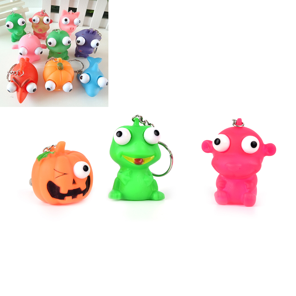 1pcs Mini Animal Anti Stress Ball Fun Antistress Extruding Big Raised Eyes Doll Squeezing Pandent For Bag Accessories Random Luggage & Bags