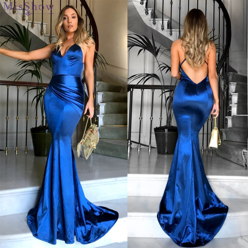 Robe De Soiree Mermaid Long Satin Ladies   Evening     Dresses   2018 Spaghetti straps Sexy Backless Customizable Women   Evening   Gowns