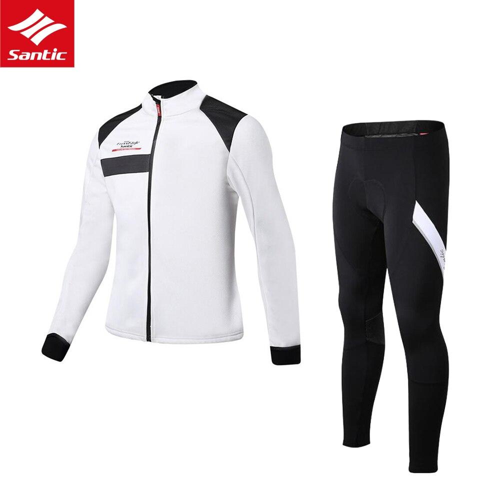 Для мужчин Велоспорт Джерси комплект Зимний термальный флис велосипедная Одежда Набор Santic MTB велосипедные майки спортивная одежда для вело