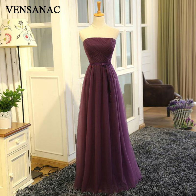 VENSANAC New A Line 2017 Sashes Strapless Long Evening Dresses Sleeveless Elegant Pleat Party Prom Gowns