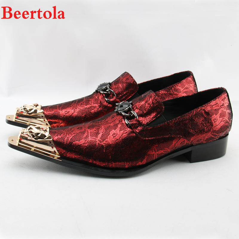 Shoes Official Website Beertola Chaussure Homme 2018 Red Fashion Men Shoes Metal Gold Pointed Toe Leather Shoes Chain Dress Wedding Business Shoes Man Year-End Bargain Sale