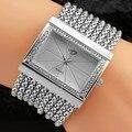Новая Мода женские Часы Наручные Часы Из Нержавеющей Стали Аналоговый Кварцевые Часы Квадратной Часы Браслет Цепи Горный Хрусталь Подарки Серебро
