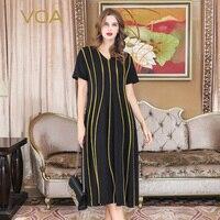 VOA черный свободный халат Женское платье для подиума Шелковые летние платья с v образным вырезом золото полосатый скромная роскошь мусульма
