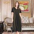 VOA Black Loose Robe Dress Women Runway Silk Summer Dresses V Neck Gold Striped Modest Luxury Muslim vestidos jurken Fall A10111