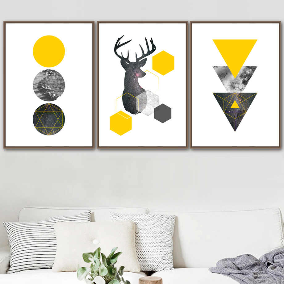 Deer Sea Starry Wall Art Canvas Painting Yellow Geometric Nordic Posters And Prints Abstract Wall Pictures For Living Room Decor