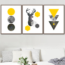 Deer Sea Starry Wall Art Canvas Painting Yellow Geometric Nordic Posters And Prints Abstract Pictures For Living Room Decor