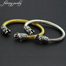 Delicate Two Wolf Head Bracelet High Quality Charm Silver Gold Thread Fenrir Norse Viking Bangle Men Punk Cool Religion Jewelry(China)