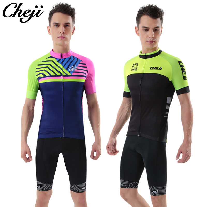 CHEJI Pro Cycling Jersey Breathable Bike Jersey BIB Short Set Sport Shirts Custom Men Cycling Wear Black Green Cycling Clothing xintown 2018 cycling jersey clothing set summer outdoor sport cycling jersey set sports wear short sleeve jersey bib shorts sets
