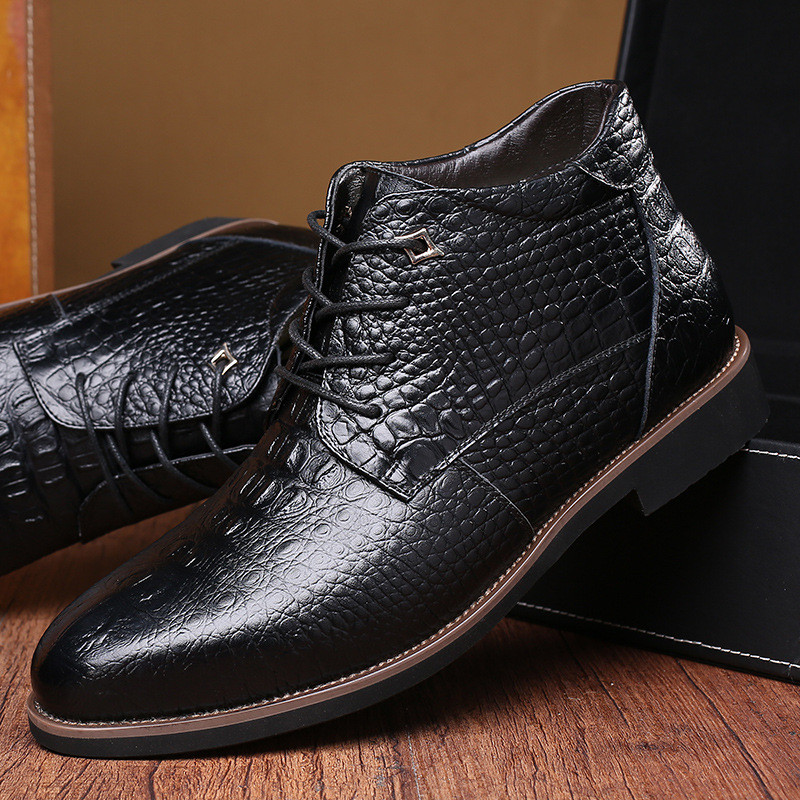 LAISUMK Luxury Brand Men Winter Boots Warm Thicken Fur Men 39 s Ankle Boots Fashion Male Business Office Formal Leather Shoes in Basic Boots from Shoes