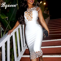 Hego 2016 New Circle Hollow Out Sleeveless Backless Sexy Autumn Bodycon Bandage Dress Costumes