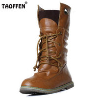 Plus Size 32 52 Vintage Motorcycle Ankle Boots For Women Winter Autumn Snow Boots Leather Flats