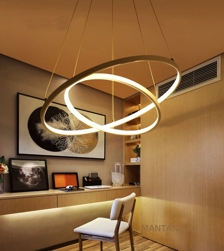 HTB1E e8iRjTBKNjSZFNq6ysFXXaQ 60CM 80CM 100CM Modern Pendant Lights For Living Room Dining Room Circle Rings Acrylic Aluminum Body LED Ceiling Lamp Fixtures