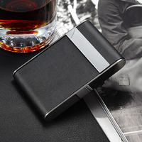 Personality Leather Mini cigarette case (hold 7 pcs) with magnetic Stainless steel Cigarette boxes Black leather cigarett cases