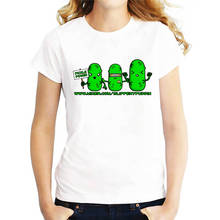 Work Shirts O-Neck Short Sleeve Casual Womens Cute Pickle Power  Tee