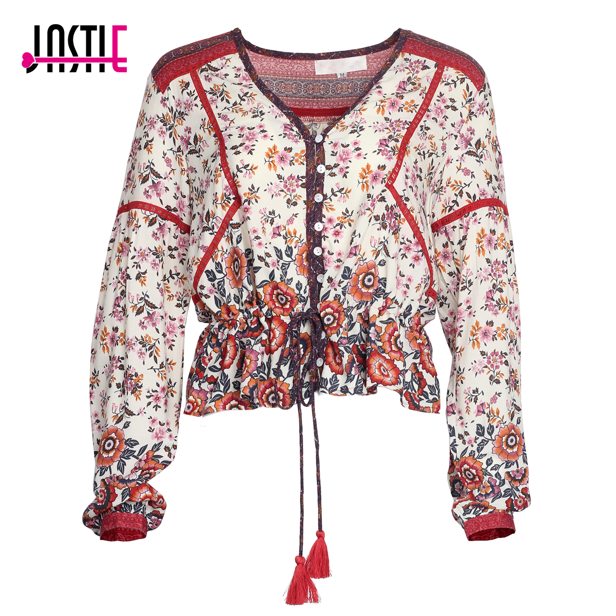 Jastie Gypsy Floral Print Women   Blouse   V-Neck Tassel Tie Boho Chic Casual Beach   Blouses     Shirt   Long Sleeve Pullover Tops Blusa