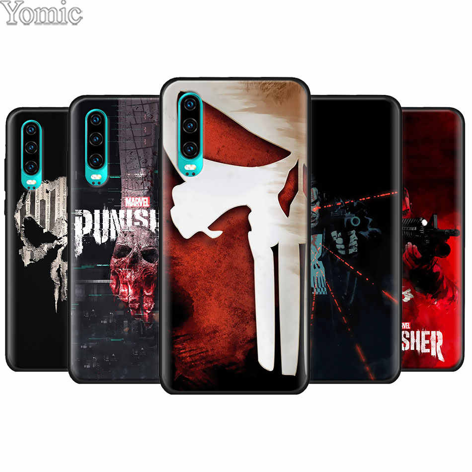 The Punisher Preto TPU Soft Case para Huawei P20 P30 Pro P9 P10 P20 P30 Lite P Smart Plus Companheiro 10 20 Lite Tampa Da Caixa Do Silicone