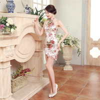 Sexy Backless Women Satin Mini Qipao Cheongsam Chinese Vintage Style Party Club Dress Lady Short Tight