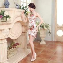 Sexy Backless Women Satin Mini Qipao Cheongsam Chinese Vintage Style Party Club Dress Lady Short Tight Dress S M L XL XXL LGD20
