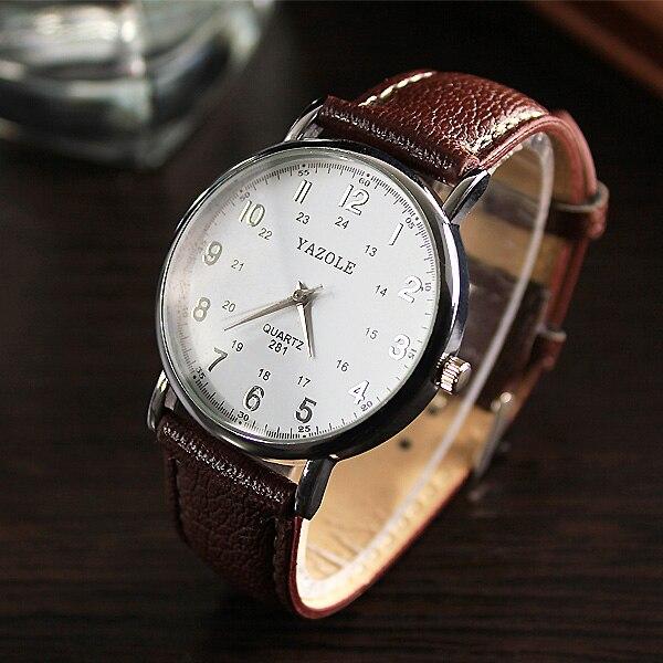 2019 black genuine leather watchband mens watches man brown strap sport watch brand luxury quartz wristwatch montre homme reloj