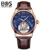 ANGELA BOS luksusowy zegarek mechaniczny mężczyźni wodoodporna Tourbillon automatyczny zegarek na rękę mężczyzna złota róża zegar Reloj 2018 Montre Homme