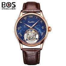 Анжела BOS роскошные механические часы для мужчин водостойкий Tourbillon автоматические наручные часы человек розовое золото часы Reloj 2018 Montre Homme