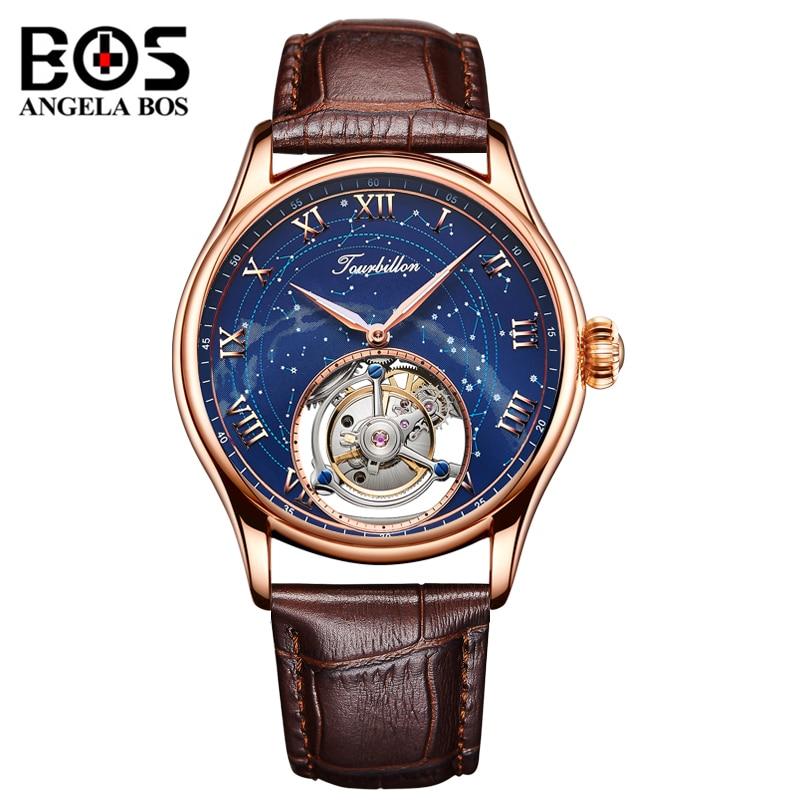 ANGELA BOS lujo hombres Reloj mecánico impermeable Tourbillon Reloj automático hombre oro rosa Reloj 2018 Montre Homme