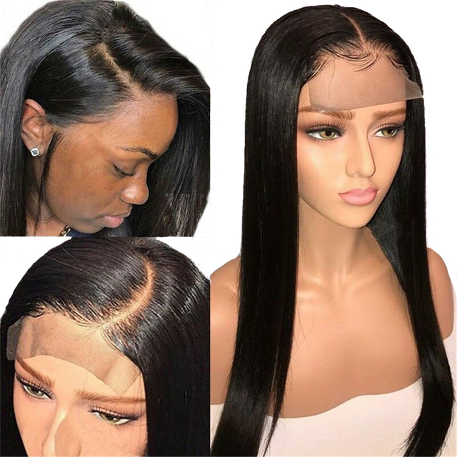 Brazilian Non Remy 4×4 Straight Lace Closure Lace Front Human Hair Wigs PrePlucked With BabyHair