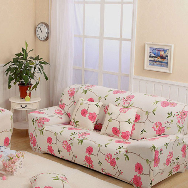 Couch Covers White Pink Sofa Furniture Slipcovers Plant Printed Sectional Stretch Case On The