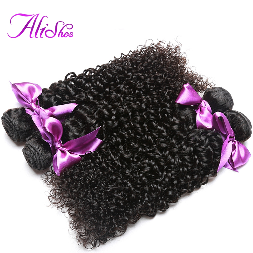 Alishes Malaysian Curly Hair 3 Bundles Human Hair Extensions 8 28Inch Mixed Non Remy Hair Weave