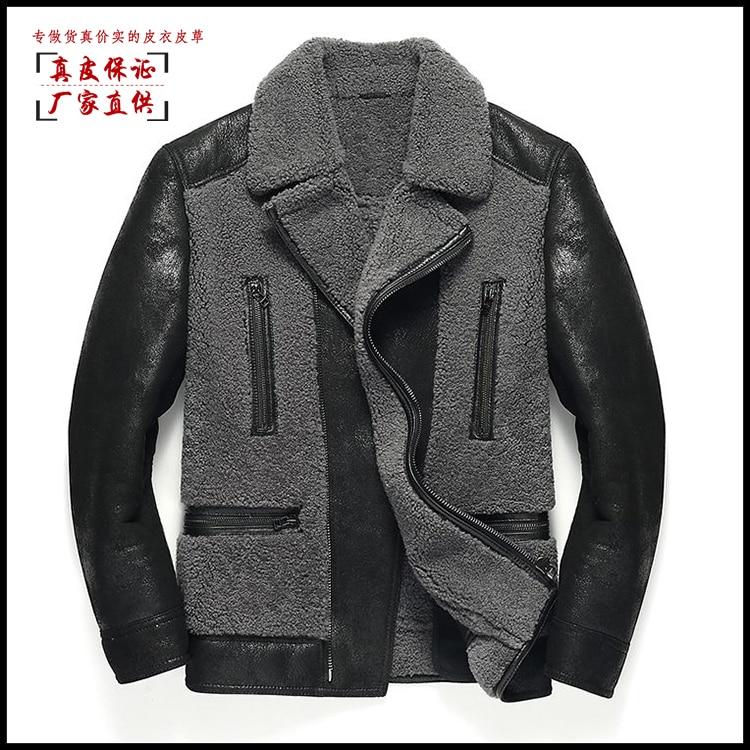 2019 новые модные мужские Куртки из натуральной кожи из овчины с шерстяной подкладкой в стиле пэчворк, черный, большие размеры 3xl 4xl 5xl