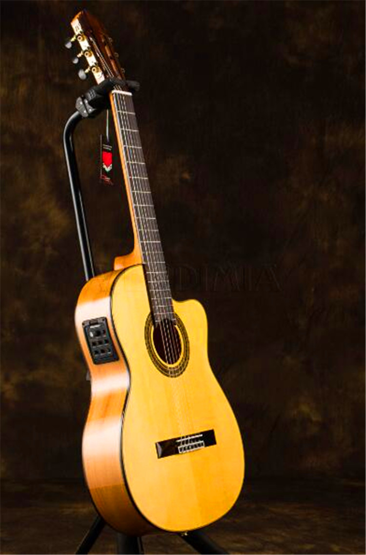 Professional Handmade 39 inch Acoustic Flamenco guitar With Solid Spruce/Aguadze Body ,Electric Classical guitar VFG-AS professional solid top 12 string acoustic electric guitar with turner