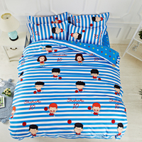 2017 New Style Duvet Cover Set Polyester Fiber Bed Sheet Sets Sets Blue striped basketball dream Queen Full Twin Size 3 / 4pcs