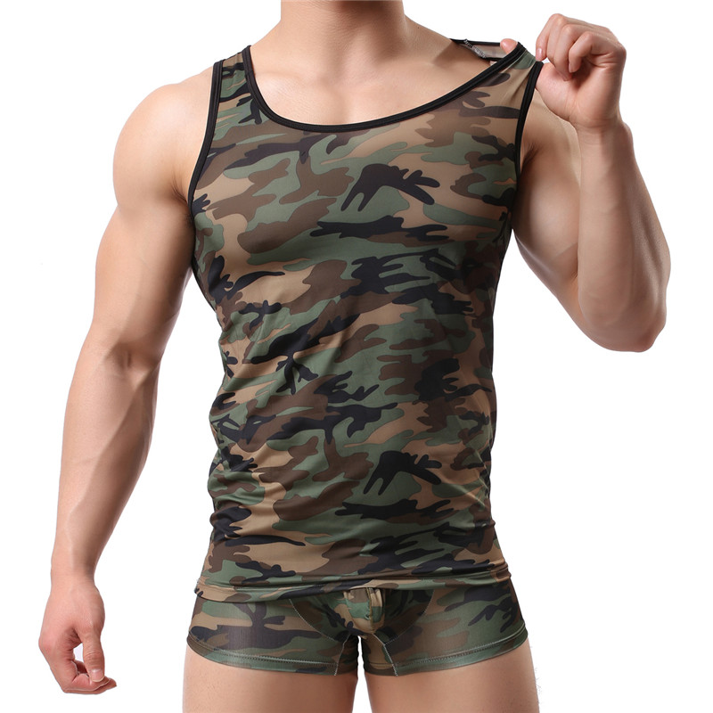 Fashion Military Style Men Vest Sexy Camouflage Tank Tops Tight Male Shirts Breathable Casual Sleeveless Vest Cool Tops