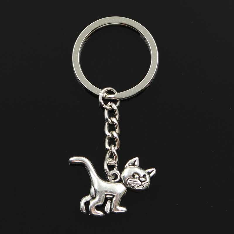Fashion 30mm Key Ring Metal Key Chain Keychain Jewelry Antique Silver Plated cat 30x22mm Pendant
