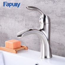 Fapully Stainless Steel Waterfall bathroom basin faucet nickel Brushed brass sink mixer tap стоимость