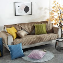 European Style Sofa Cover Thicken Plush Sofa Slipcover Soft Non-slip Velvet Couch Cover For Living Room 1/2/3 Seater Cover Set(China)